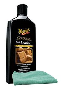 Meguiar's Gold Class Rich Leather Cleaner & Conditioner (14 oz.), Microfiber Cloth Kit