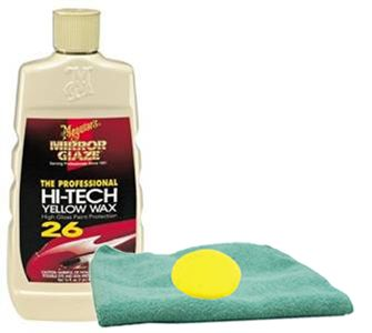 Meguiar's Professional Hi-Tech Yellow Liquid Wax (16 oz.), Foam Pad & Microfiber Cloth Kit
