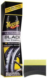 Meguiars Ultimate Black Tire Coating (8 oz) & Applicator Pad Kit