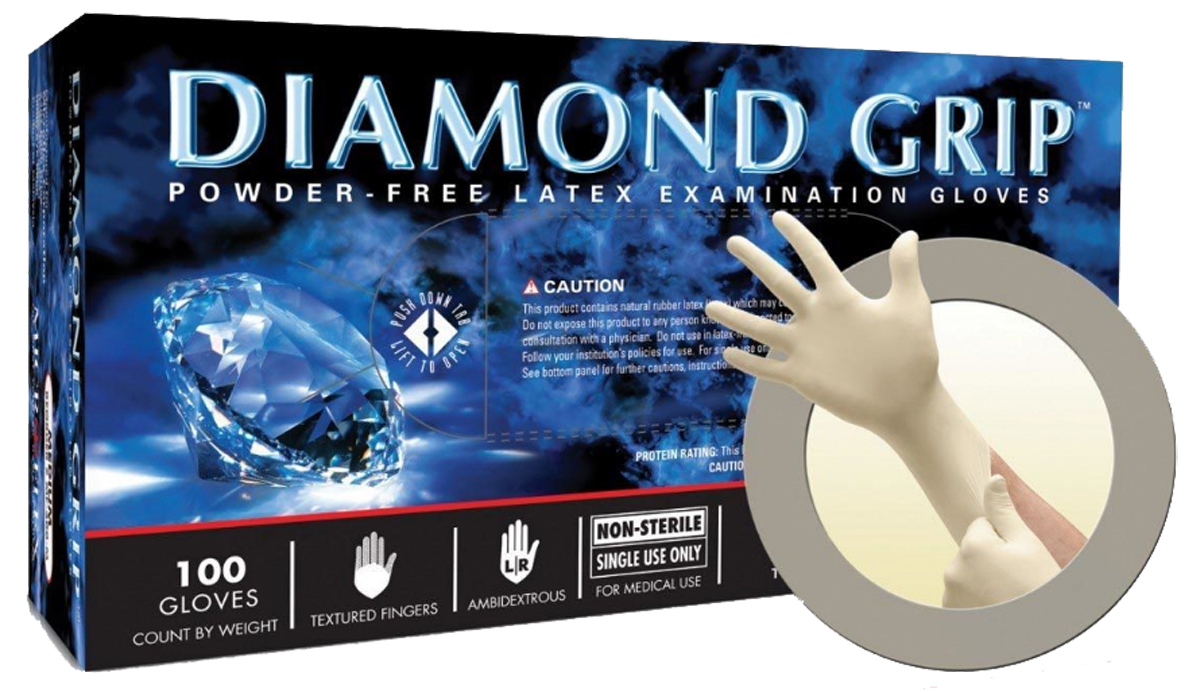 Image of Microflex Diamond Grip Medium Latex Gloves (100 Count)