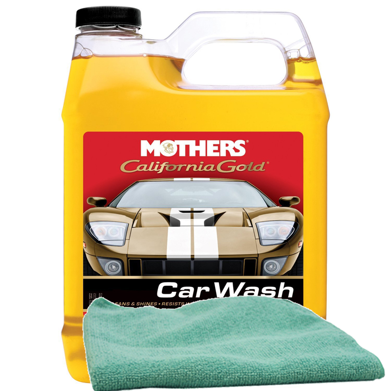 Image of Mothers 64 oz. California Gold Car Wash & Microfiber Cloth Kit