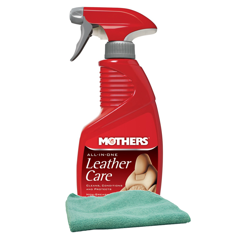 Image of Mothers All-In-One Leather Care (12 oz) Microfiber Cloth Kit