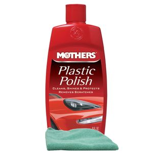 Mothers Plastic Polish (8 oz.), Microfiber Cloth Kit