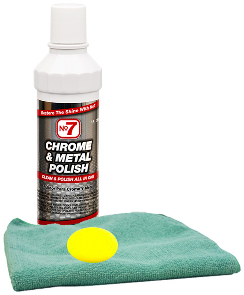 Image of No. 7 Chrome & Metal Polish (8 oz) Microfiber Cloth & Foam Pad Kit