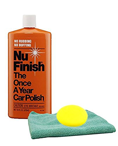 Image of Nu Finish Once-A-Year Car Polish (16 oz) Microfiber Cloth & Foam Pad Kit
