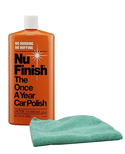 Image of Nu Finish Once-A-Year Car Polish (16 oz) & Microfiber Cloth Kit