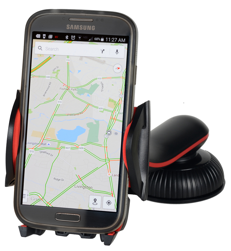 Image of One Touch Dashboard & Windshield Mounted Smartphone Holder