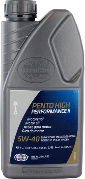 Image of Pentosin 5W40 Synthetic High Performance II Motor Oil (1 Liter)