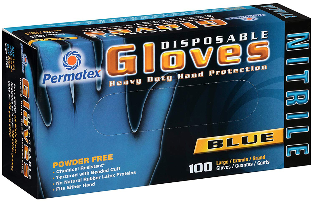 Image of Permatex Disposable Blue Nitrile Gloves Box (100 ct.) - Large