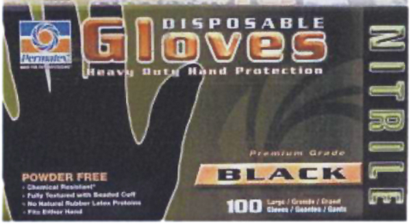 Image of Permatex Large Black 5 mil Nitrile Gloves (Box of 100)