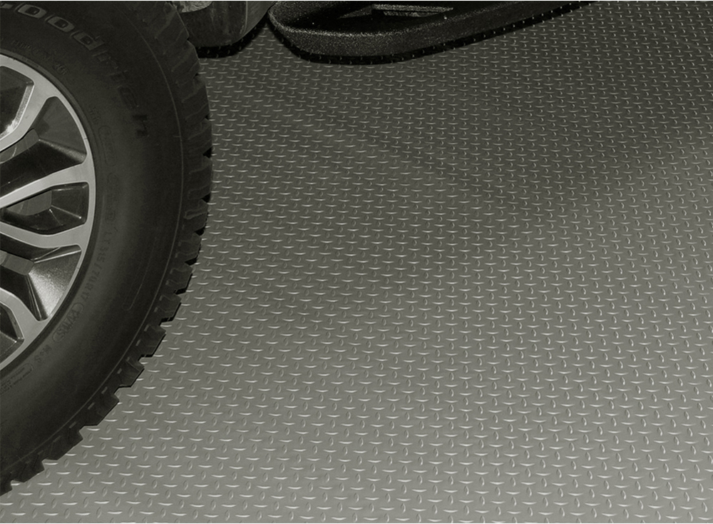 Image of Pewter Diamond Deck Textured Rollout Flooring Car Mat