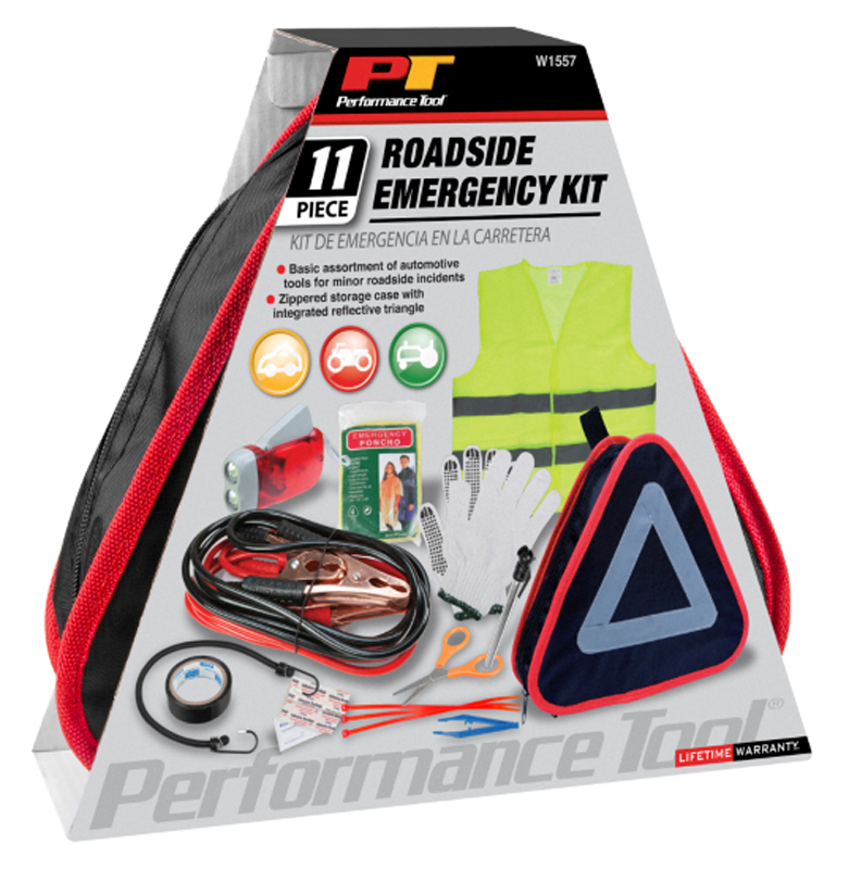 Image of Performance Tools 11 Piece Roadside Emergency Kit