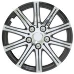 "Pilot Automotive Stick Silver 15"" Wheel Cover with Black Accent, (Set of 4)"