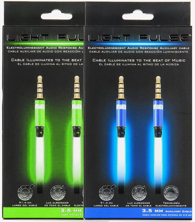 Image of Pilot Audio Response Luminescent Auxiliary Audio Cable (3.5mm) - Blue