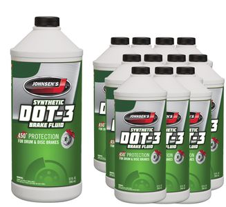 Johnsen's Premium DOT 3 Brake Fluid - 12 Pack (32 oz)
