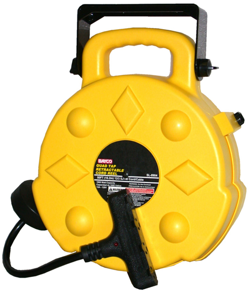 Image of Professional Retractable Reel With 50 Ft. Quad Tap Cord (15 Amps)