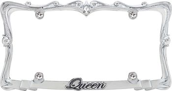 Queen Crystal Chrome License Plate Frame