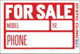 "Red & White Static Cling For Sale Sign (8"" x 12"")"