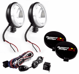 "Rugged Ridge 6"" Slim Round 100 Watt Black Fog Lamps Kit (Pair)"