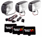 "Rugged Ridge Three 5""x7"" Rectangular 100 Watt Black Fog Lamps kit"