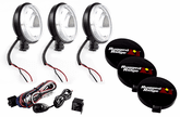 "Rugged Ridge Three 6"" Slim Round 100 Watt Black Fog Lamps Kit"