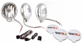 "Rugged Ridge Three 6"" Slim Round 100 Watt Stainless Steel Fog Lamps Kit"