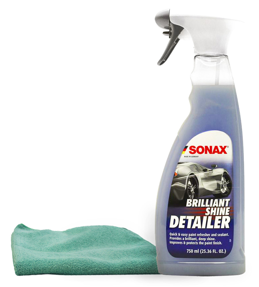 Sonax Brillant Shine Spray Detailer (25 oz) Microfiber Cloth Kit