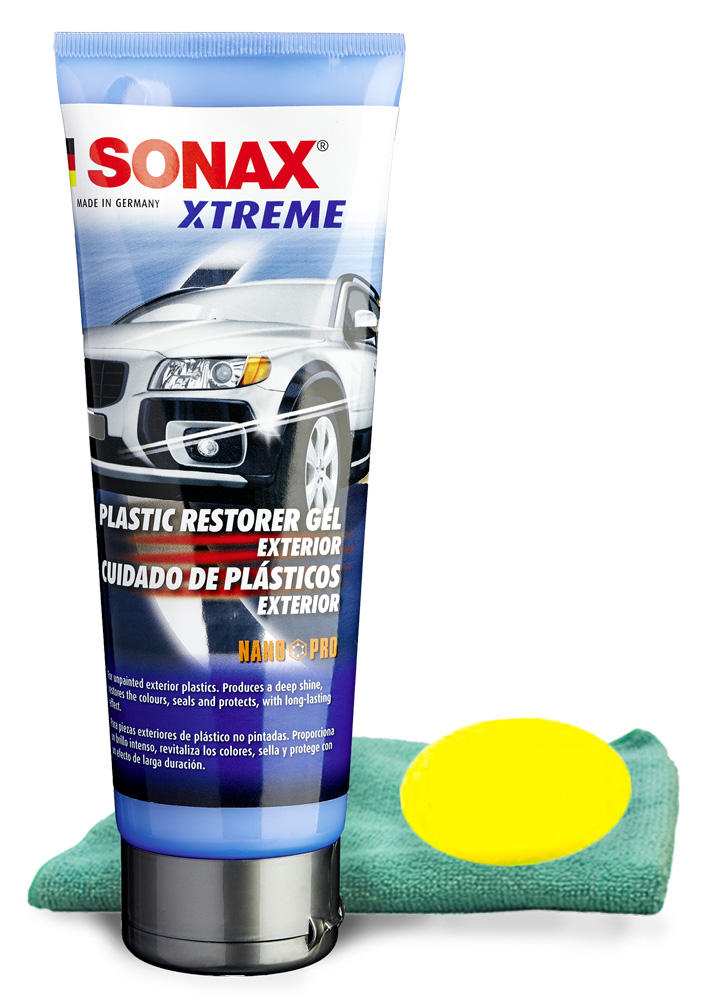 Sonax Plastic Restorer Gel (250 ml) Microfiber Cloth & Foam Pad Kit