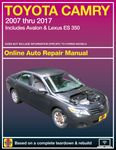 Toyota Camry and Avalon & Lexus ES 350 Haynes Repair Manual (2007 -2017)