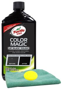 Turtle Wax Color Magic Black Car Polish (16 oz), Microfiber Cloth & Foam Pad Kit