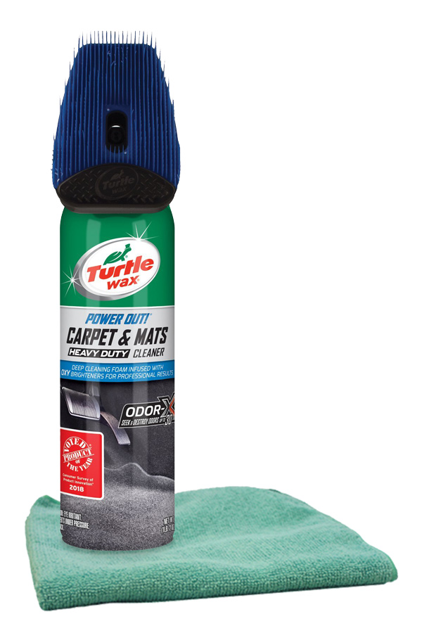 Turtle Wax Power Out Carpet & Mats Cleaner (18 oz.) & Microfiber Cloth Kit