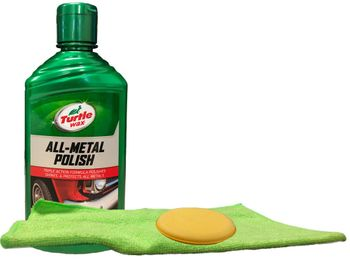 Turtle Wax All Metal Polish, Microfiber Cloth & Foam Pad Kit