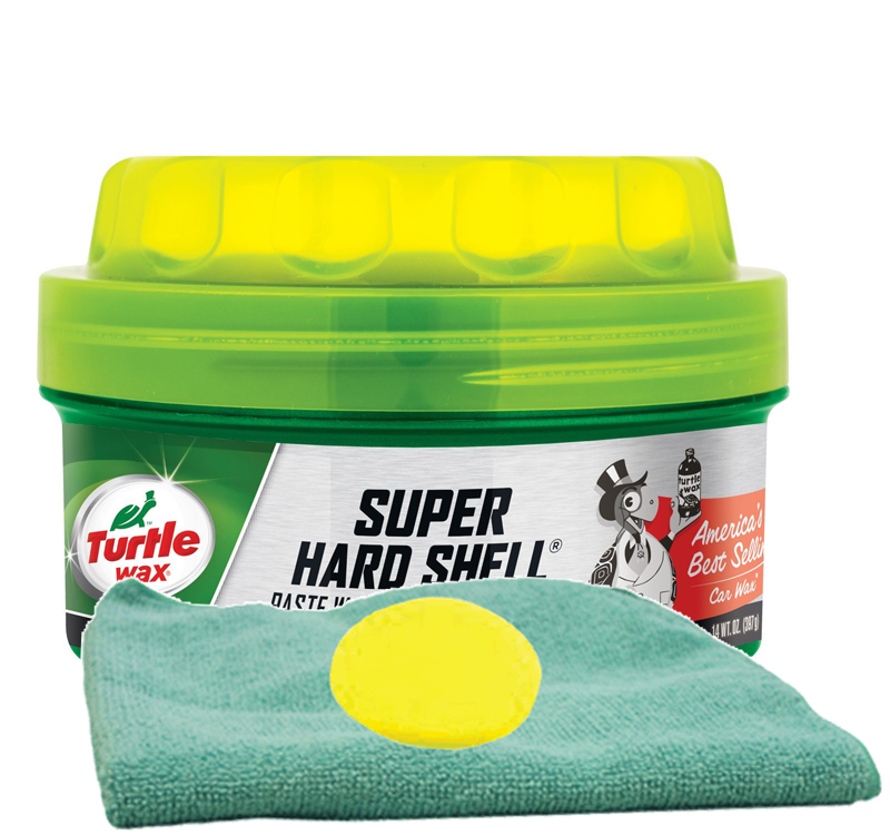 Turtle Wax Super Hard Shell Paste Wax (14 oz.) Microfiber Cloth & Foam Pad Kit