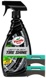 Turtle Wax Wet n' Black Tire Shine (23 oz) & Applicator Pads Kit