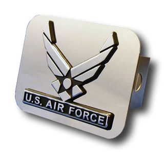 Chrome U.S. Air Force Wing Logo Stainless Steel Hitch Plug