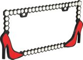 Red High Heel Glitter License Plate Frame