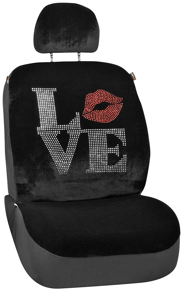 Image of Black Accented Love Universal Low Back Seat Cover