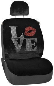 Black Accented Love Universal Low Back Seat Cover