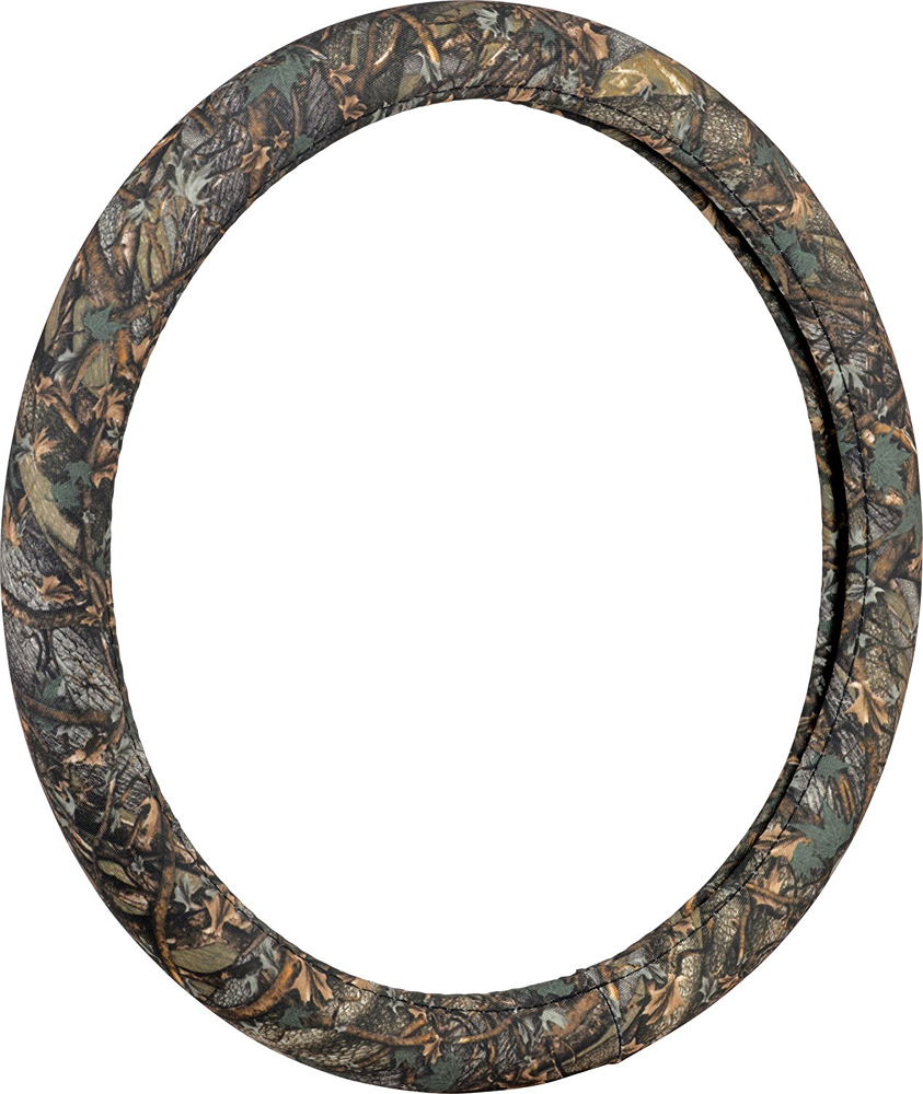 Image of Wild Wood Camouflage Green Leaf Steering Wheel Cover