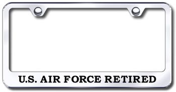 US Air Force Retired Laser Etched Stainless Steel License Plate Frame