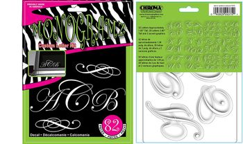 White Letters Script Monogramz Decal Kit