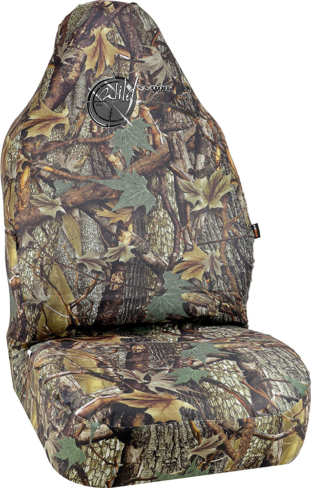 Image of Wild Wood Camouflage Green Leaf Universal Bucket Seat Cover