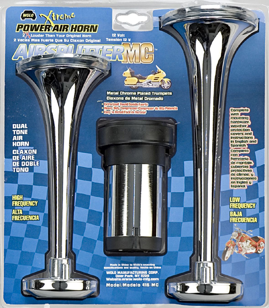 Wolo Airsplitter Dual Tone Motorcycle Chrome Air Horn