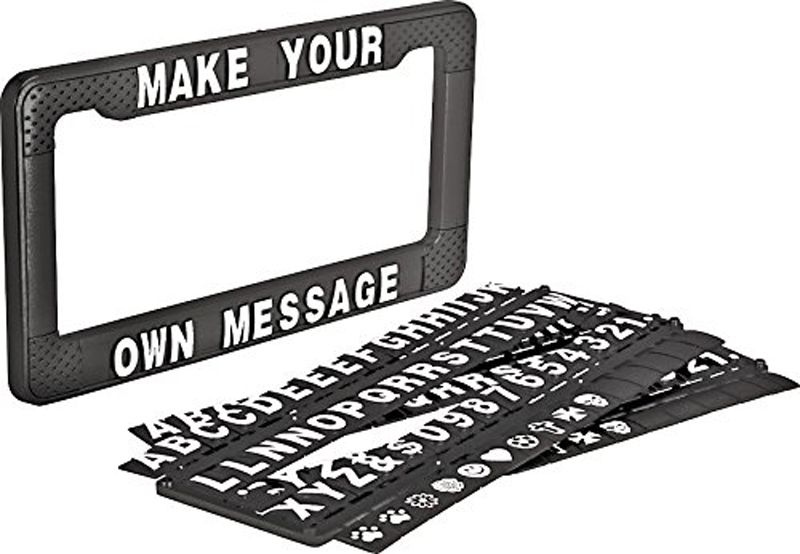 Personalized Custom Made Black Arial Metal License Plate Frame