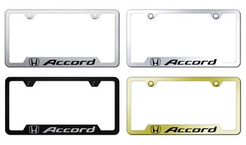 Honda Accord Laser Etched Stainless Steel Cut-Out License Frame