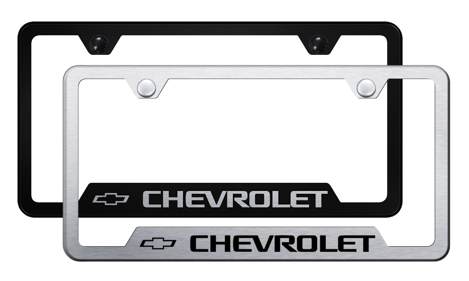 Chevrolet Laser Etched Stainless Steel Cut-Out Frame  -  Brushed