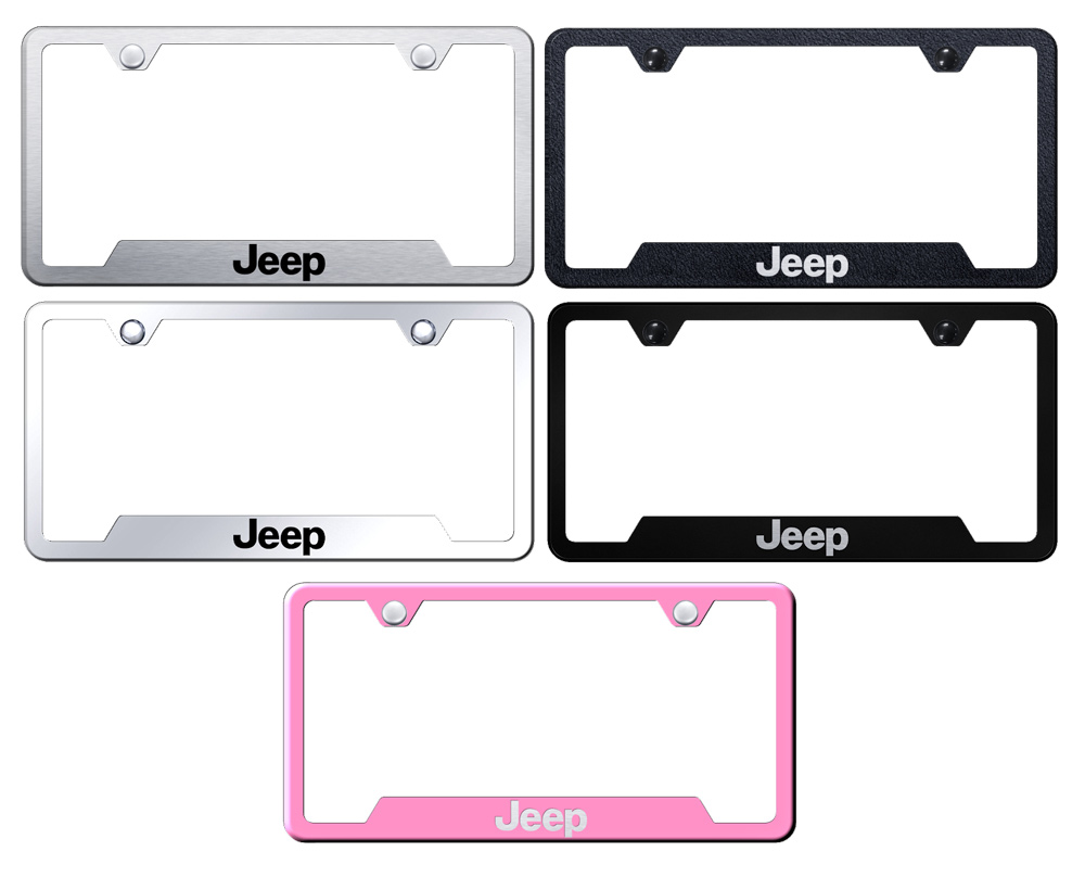 http://www.autobarn.net - Jeep Laser Etched Stainless Steel Cut-Out Frame –  Black