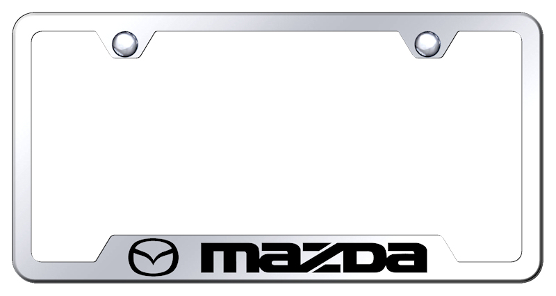 Image of Mazda Laser Etched Mirrored Stainless Stain Cut-Out Frame
