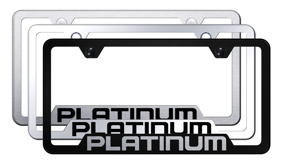 Platinum Laser Etched Stainless Steel Cut-Out Frame -  Brushed
