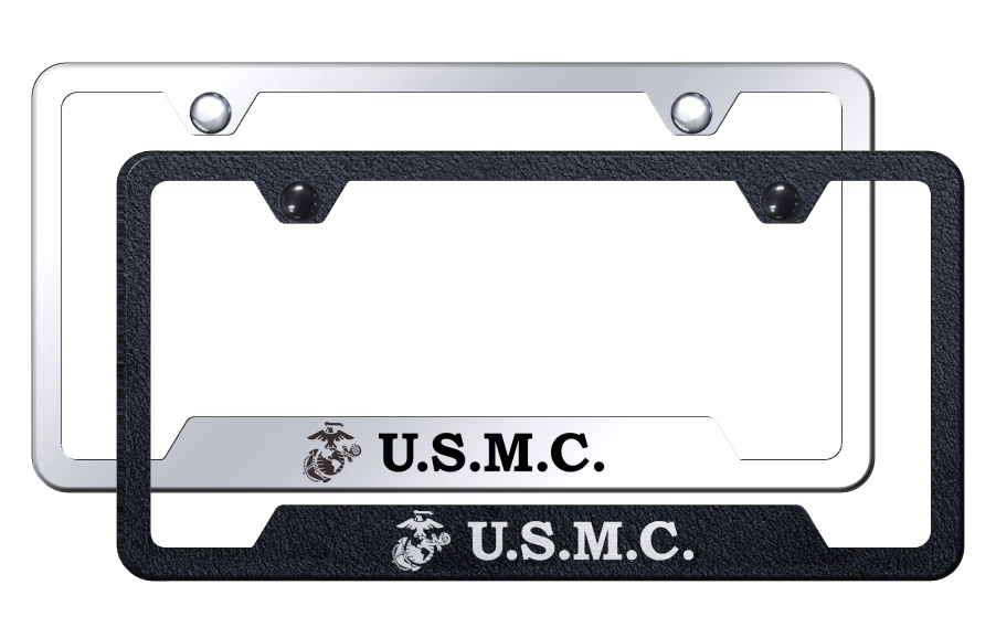 U.S.M.C. Initials Laser Etched Stainless Steel Cut-Out Frame -  Textured Black